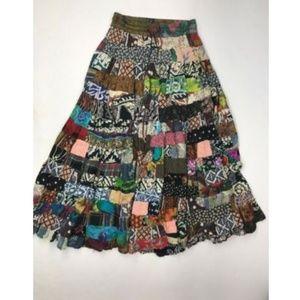 Chaudry Sports Patchwork Boho Hippie Maxi Skirt